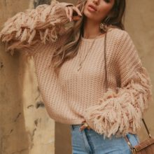 Elegancki Sweter Z Frędzlami NOEMI