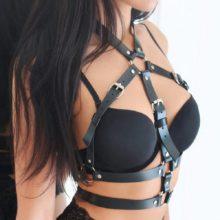 Skórzana Seksowna Uprząż Harness Bielizna Erotyczna